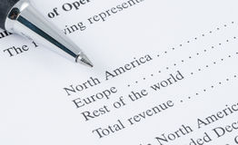 Pen on the sale region report Stock Photo