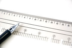 Pen with scale Stock Images