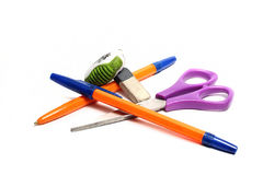 Pen,scissors and eraser Royalty Free Stock Photos