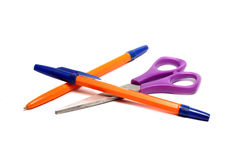 Pen and scissors Royalty Free Stock Image
