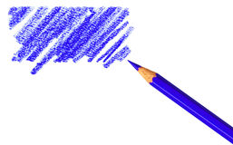 Pen with scribbles. Clipping path. Pen with scribbles on white background. Text can be entered on colored area Royalty Free Stock Image