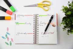 Pen on a self made planner. Modern office desk. Working, writing royalty free stock photography