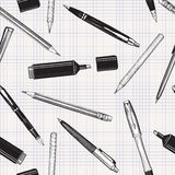 Pen set seamless pattern.  Pencils, pens and marker Stock Images