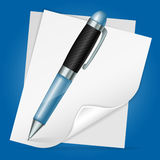 Pen with Sheet Paper Royalty Free Stock Image