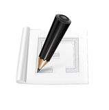 Pen and sheet of paper with sketch isolated Stock Image