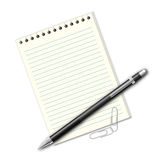 Pen, sheets of paper and clips Royalty Free Stock Photography