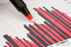 Pen showing diagram. On financial report/magazine Royalty Free Stock Photos