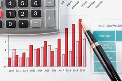 Pen showing diagram on financial report Royalty Free Stock Photo