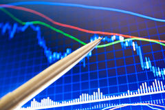 Pen showing a financial chart on screen Royalty Free Stock Photo