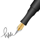 Pen and signature. Close up of a fountain pen and signature. Vector illustration Royalty Free Stock Photography
