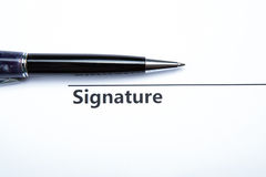 Pen and signature Stock Photos