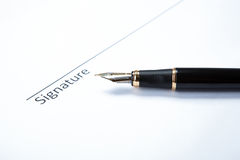 Pen and signature Royalty Free Stock Image