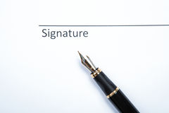 Pen and signature Stock Photo