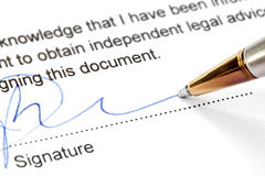 Pen Signing Legal Document Royalty Free Stock Photos