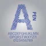 Pen Sketch Alphabet et vecteur de nombres illustration stock
