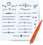 Pen sketch dividers on squared paper. Doodle sketch illustration Royalty Free Stock Image