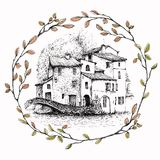 Aink sketch of Italian landscape inside a wreath of branches, isolated on white background. vector illustration