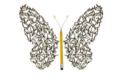 Pen sketch scribble made butterfly Royalty Free Stock Photography