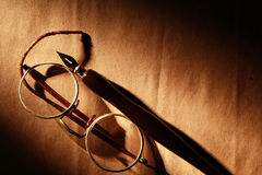 Pen And Spectacles Stock Photography