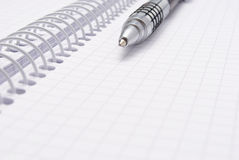 Pen on spiral notebook Royalty Free Stock Images