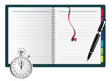 Pen, spiral notepad and stopwatch Royalty Free Stock Photo