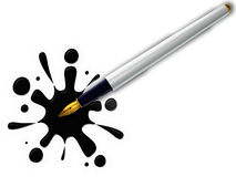 Pen and splash on white. Background Royalty Free Stock Photos