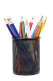 Pen stand. Color pencils in pen stand royalty free stock photography