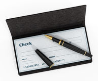 Pen standing on chekbook isolated on white background. 3D illustration Stock Photography