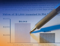 Pen and statement. Ballpoint pen checking a fund financial statement in blue and orange Royalty Free Stock Photography