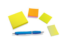 Pen and stickies Royalty Free Stock Photo