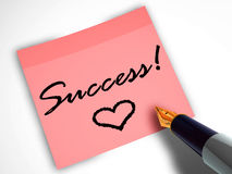 Pen and sticky note with heart Royalty Free Stock Photos