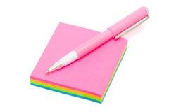 Pen on sticky note Royalty Free Stock Photo