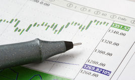 Pen on stock chart Stock Photos