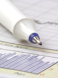 Pen on stock chart on mar 07 Royalty Free Stock Photo