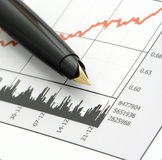 Pen on Stock Price Chart. Close-up shot of a pen on stock price chart Royalty Free Stock Images
