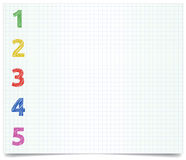 Pen-style-1-2-3-4. Colorized pen style numbers on excersise book paper Royalty Free Stock Images