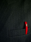Pen in suit pocket. Red pen in black suit pocket Stock Photos