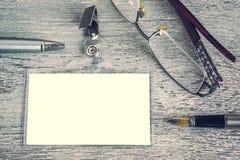 Pen, sunglasses, badge, blank ID card Royalty Free Stock Image