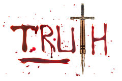 Pen sword and truth. Fountain pen and sword and bleeding letters of truth royalty free stock image