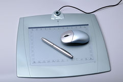 Pen tablet. Designer pen tablet kit on white Stock Photos