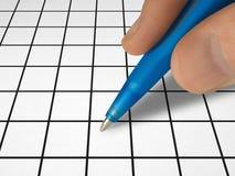 Pen ter beschikking en kruiswoordraadsel Royalty-vrije Stock Foto