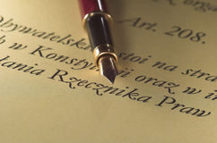 Pen & text. Text with gold pen document macro elegant stock photos