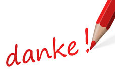 Pen with text danke! Stock Photography