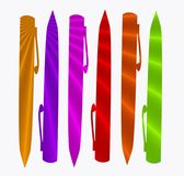 Pen texture. Group of pens with nice detail of sun ray colors Stock Photos