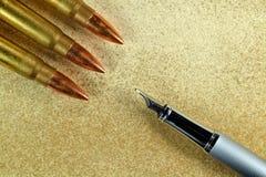 Pen and three bullets Royalty Free Stock Photos