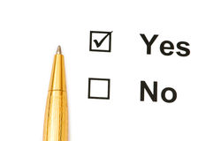 Pen and tick boxes with Yes and No options Stock Photography
