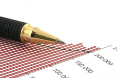 Pen tip and business chart #2 Stock Photography