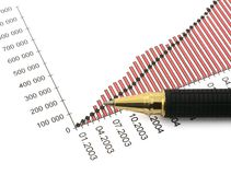 Pen tip and business chart Royalty Free Stock Image