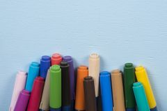 Pen tip pens. On blue background and with space for text stock photo