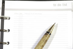 Pen on to do list Royalty Free Stock Image